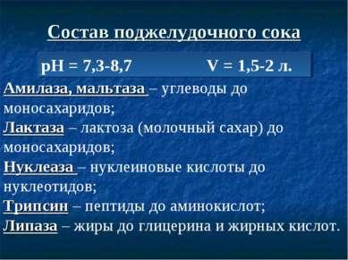 Состав поджелудочного сока рН = 7,3-8,7 V = 1,5-2 л. Амилаза, мальтаза – угле...