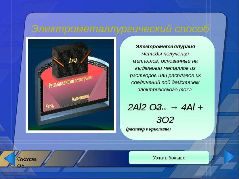 Металлотермия Узнать больше II Металлотермия- метод получения металлов, основ...