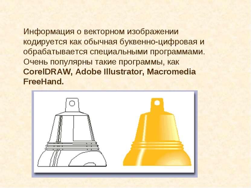 Информация о векторном изображении кодируется как обычная буквенно-цифровая и...