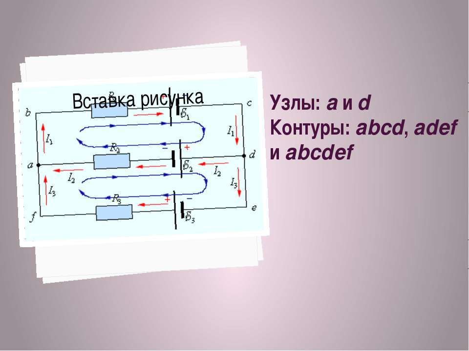 Узлы: a и d Контуры: abcd, adef и abcdef