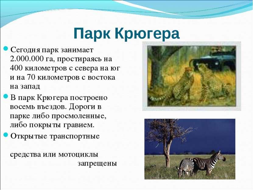 Парк Крюгера Сегодня парк занимает 2.000.000 га, простираясь на 400 километро...