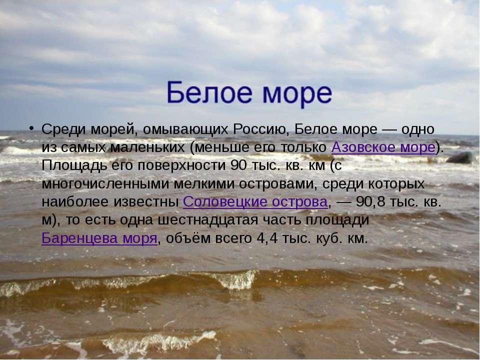 Среди морей, омывающих Россию, Белое море— одно из самых маленьких (меньше е...