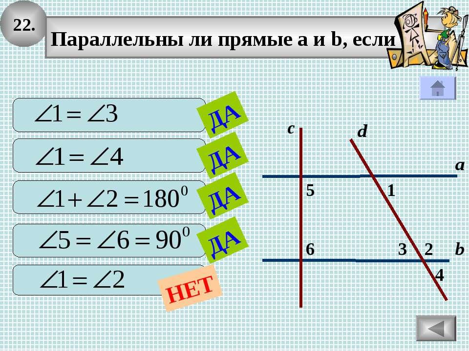 22. 2 1 4 с 3 6 5 а b Параллельны ли прямые а и b, если d ДА ДА ДА ДА НЕТ