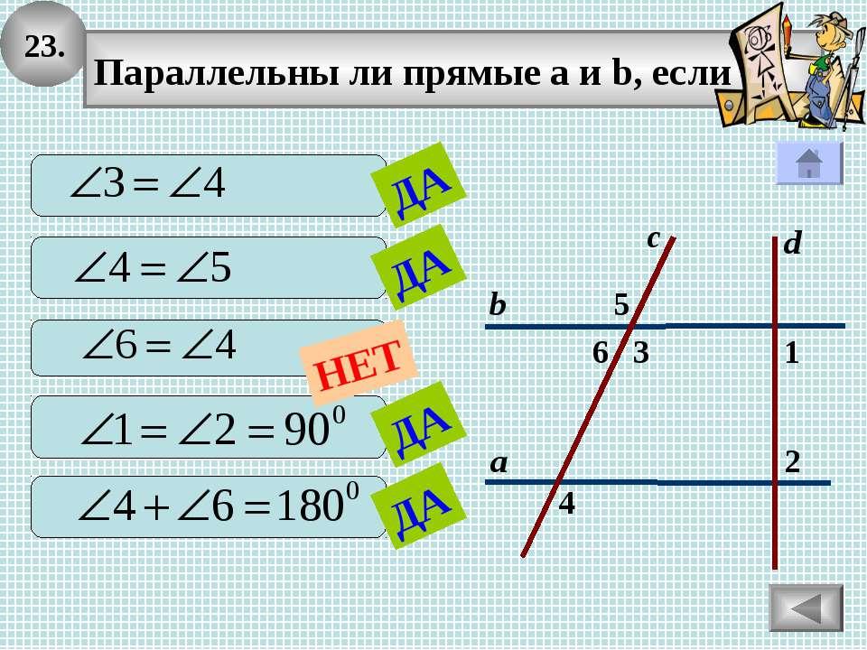 23. 2 1 4 с 3 6 5 а b Параллельны ли прямые а и b, если d ДА ДА ДА ДА НЕТ