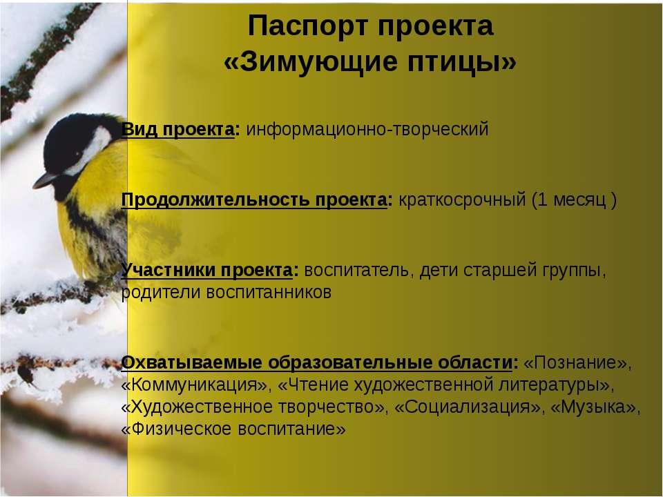 Паспорт проекта «Зимующие птицы» Вид проекта: информационно-творческий Продол...