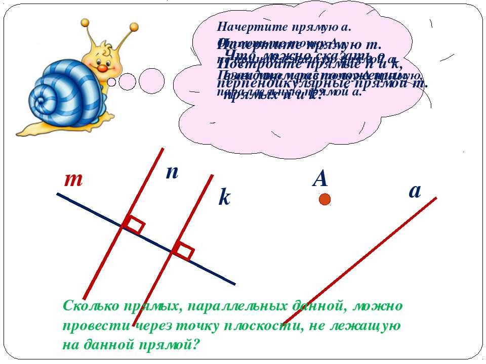 Начертите прямую m. Постройте прямые n и k, перпендикулярные прямой m. m n k ...