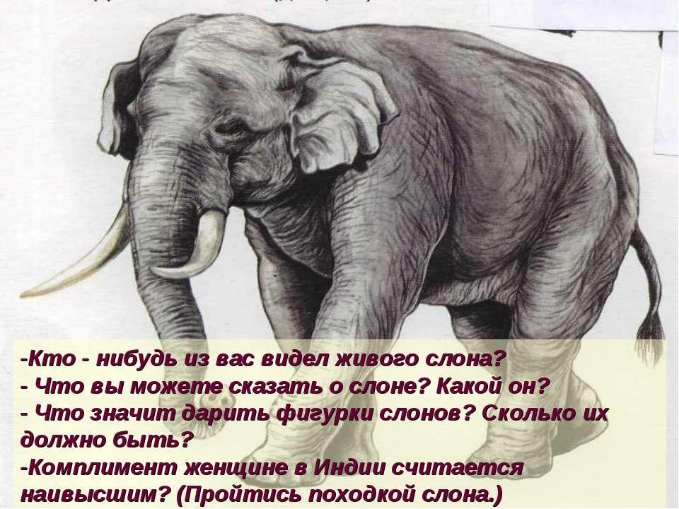 -Кто - нибудь из вас видел живого слона? - Что вы можете сказать о слоне? Как...