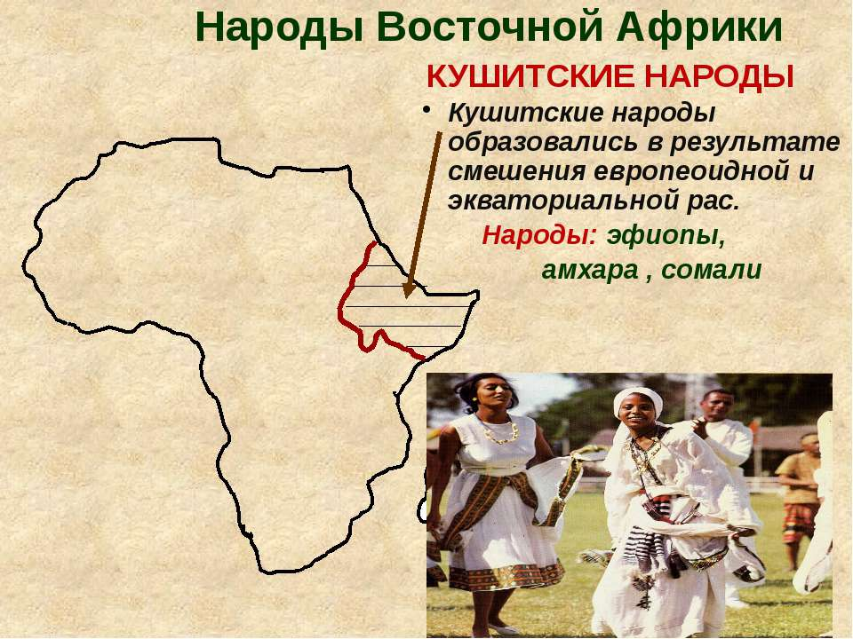 Народы Восточной Африки КУШИТСКИЕ НАРОДЫ Кушитские народы образовались в резу...