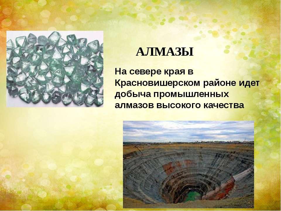 АЛМАЗЫ На севере края в Красновишерском районе идет добыча промышленных алмаз...