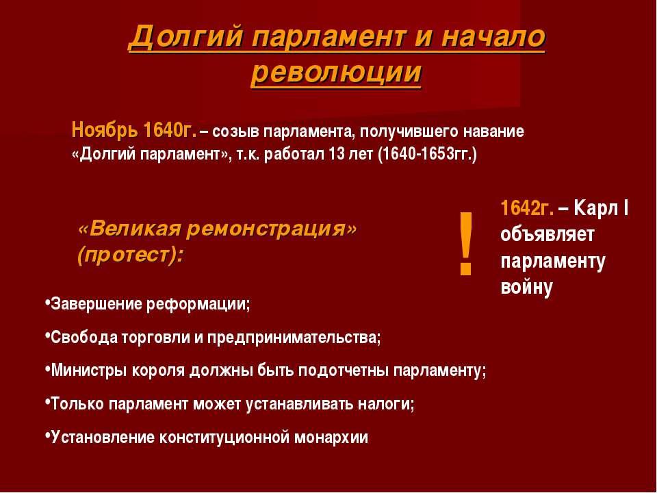 Долгий парламент и начало революции Ноябрь 1640г. – созыв парламента, получив...
