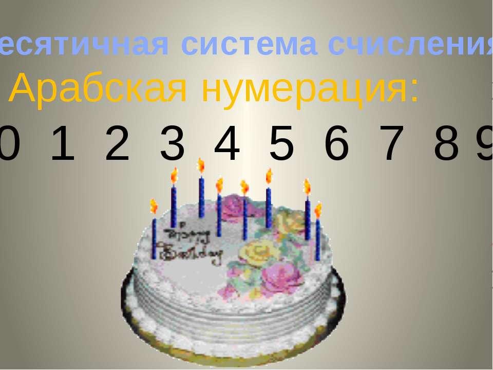 Арабская нумерация: 0 1 2 3 4 5 6 7 8 9 Десятичная система счисления Admin: П...