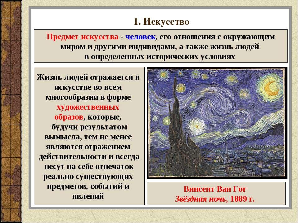 1. Искусство Предмет искусства - человек, его отношения с окружающим миром и ...