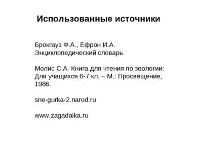 Использованные источники Брокгауз Ф.А., Ефрон И.А. Энциклопедический словарь ...