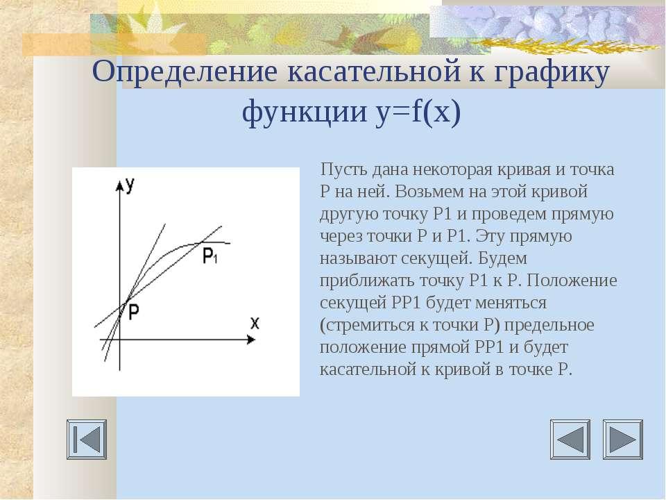 Определение касательной к графику функции у=f(х) Пусть дана некоторая кривая ...