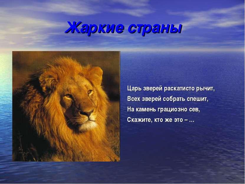 Жаркие страны Царь зверей раскатисто рычит, Всех зверей собрать спешит, На ка...