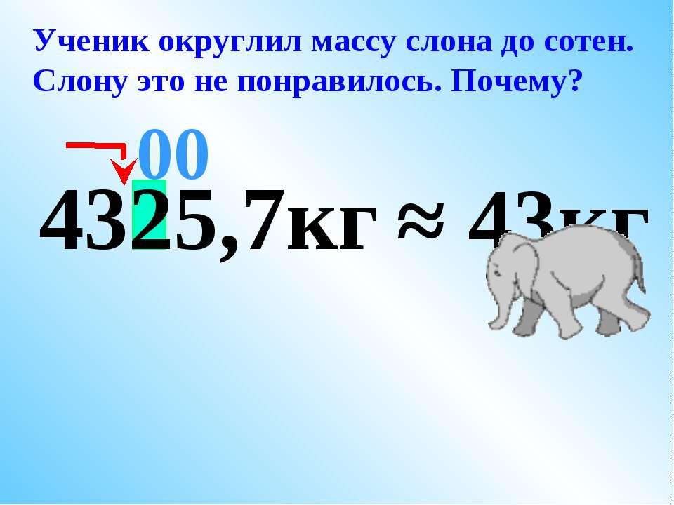 4325,7кг ≈ 43кг 00 Ученик округлил массу слона до сотен. Слону это не понрави...