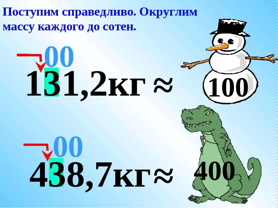 ≈ 00 Поступим справедливо. Округлим массу каждого до сотен. 400 131,2кг ≈ 100...