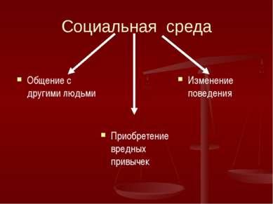 Социальная среда Общение с другими людьми Приобретение вредных привычек Измен...