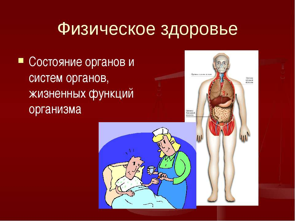Физическое здоровье Состояние органов и систем органов, жизненных функций орг...