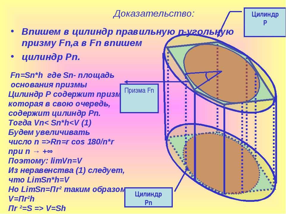 Доказательство: Впишем в цилиндр правильную n-угольную призму Fn,а в Fn впише...