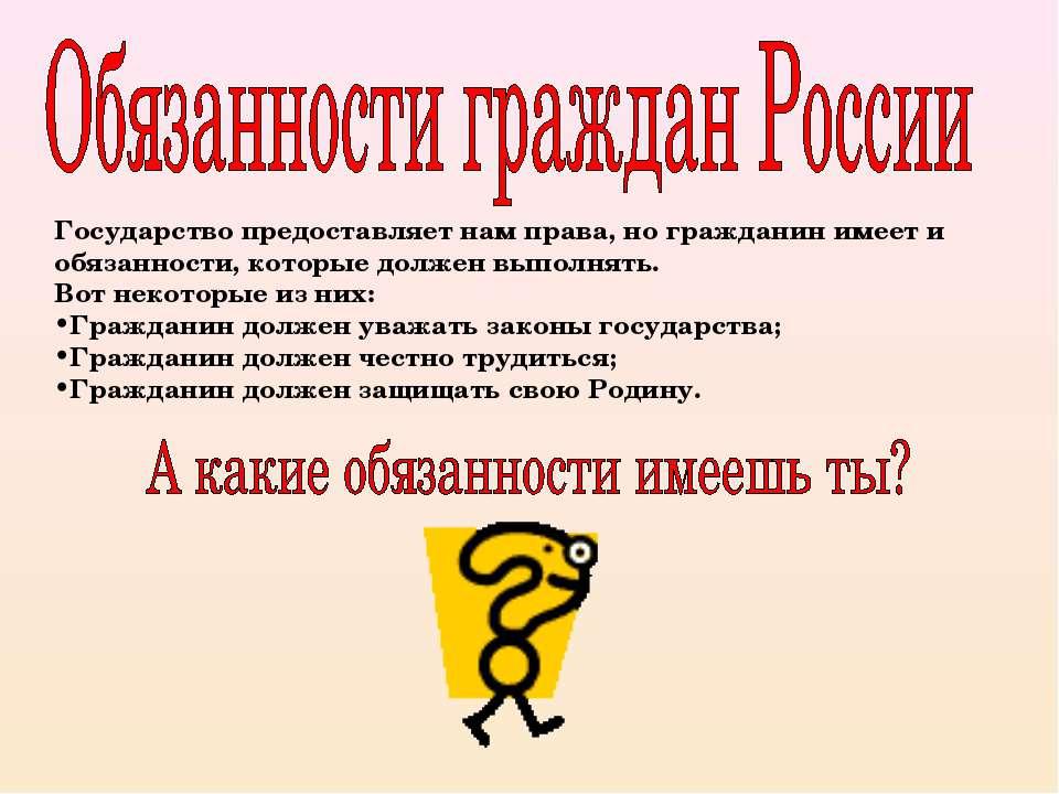 Государство предоставляет нам права, но гражданин имеет и обязанности, которы...