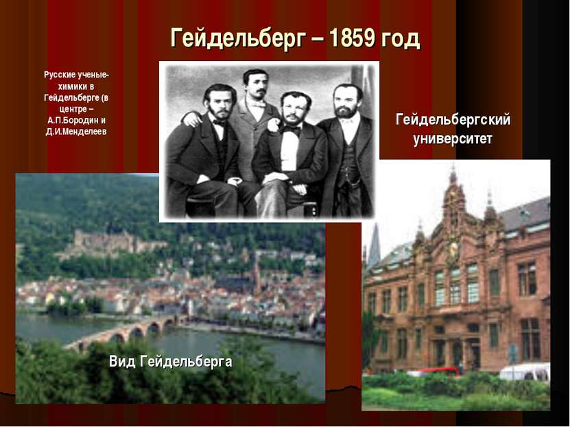 Гейдельберг – 1859 год Вид Гейдельберга Гейдельбергский университет Русские у...