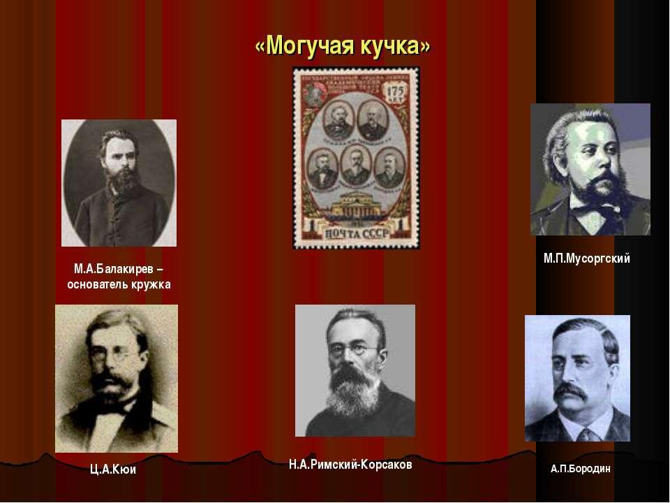 «Могучая кучка» М.А.Балакирев – основатель кружка М.П.Мусоргский Н.А.Римский-...