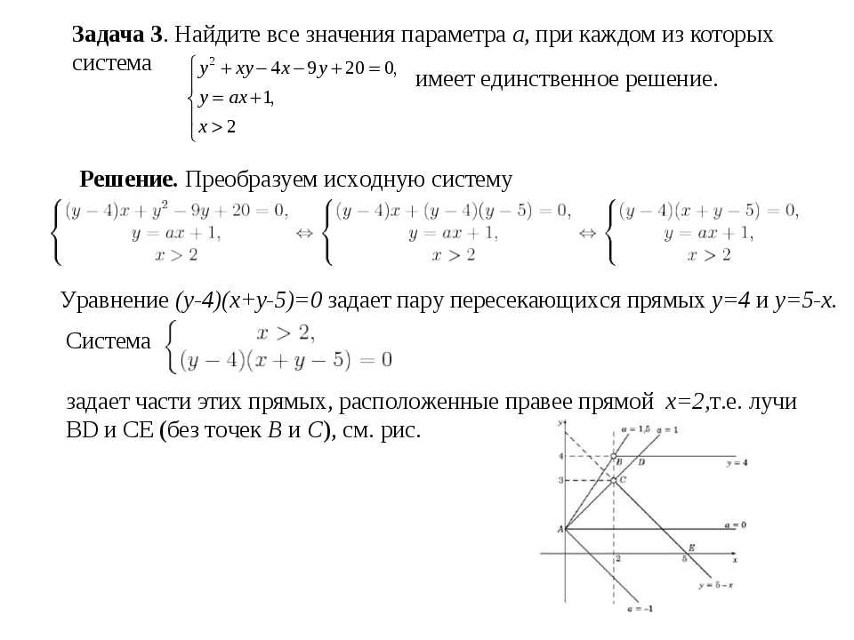 Задача 3. Найдите все значения параметра a, при каждом из которых система име...