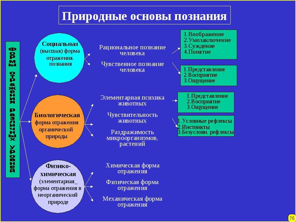 Природные основы познания Социальная (высшая) форма отражения. познания Биоло...