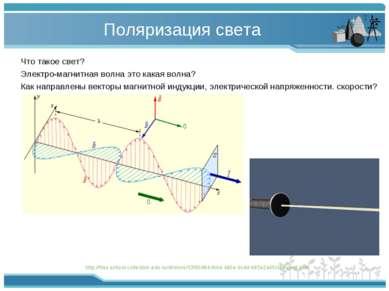 Поляризация света Что такое свет? Электро-магнитная волна это какая волна? Ка...