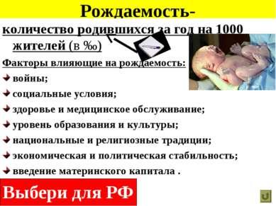 Рождаемость- количество родившихся за год на 1000 жителей (в ‰) Факторы влияю...