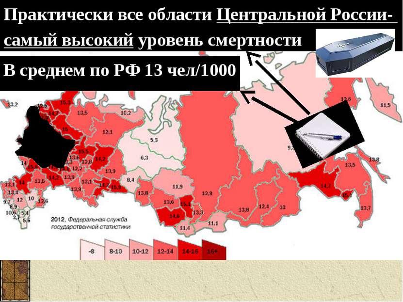 Практически все области Центральной России- самый высокий уровень смертности ...