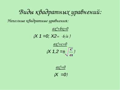 Виды квадратных уравнений: Неполные квадратные уравнения: ax²+bx=0 (X 1 =0; X...