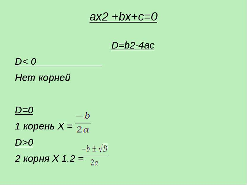 ax2 +bх+c=0  D=b2-4ac D< 0 Нет корней D=0 1 корень X = D>0 2 корня X 1.2 =