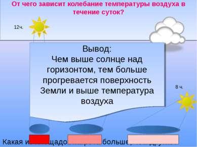 От чего зависит колебание температуры воздуха в течение суток? 8 ч. 10 ч. 12ч...