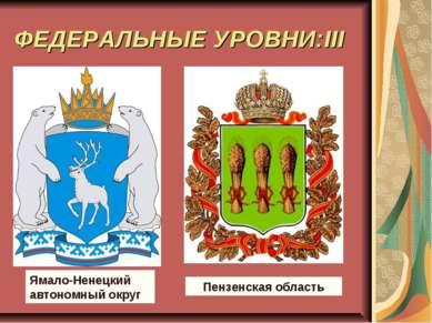 ФЕДЕРАЛЬНЫЕ УРОВНИ:III Ямало-Ненецкий автономный округ Пензенская область