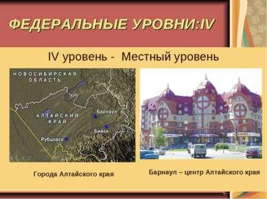 ФЕДЕРАЛЬНЫЕ УРОВНИ:IV IV уровень - Местный уровень Города Алтайского края Бар...