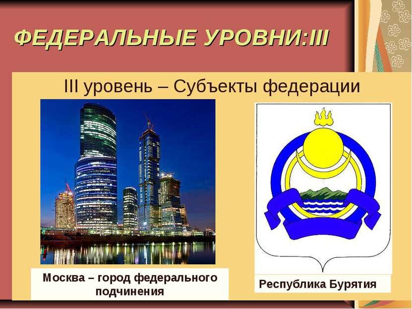 ФЕДЕРАЛЬНЫЕ УРОВНИ:III III уровень – Субъекты федерации Москва – город федера...