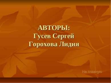 АВТОРЫ: Гусев Сергей Горохова Лидия На главную