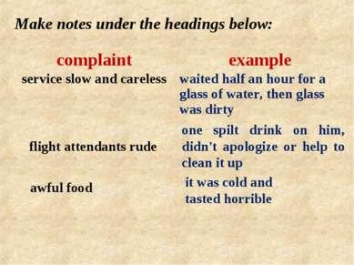 Make notes under the headings below: flight attendants rude one spilt drink o...