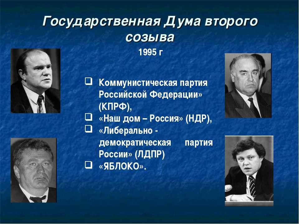 Государственная Дума второго созыва 1995 г Коммунистическая партия Российской...