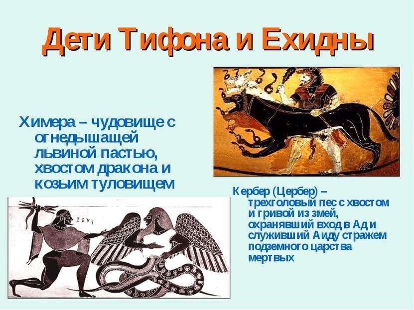 Дети Тифона и Ехидны Химера – чудовище с огнедышащей львиной пастью, хвостом ...