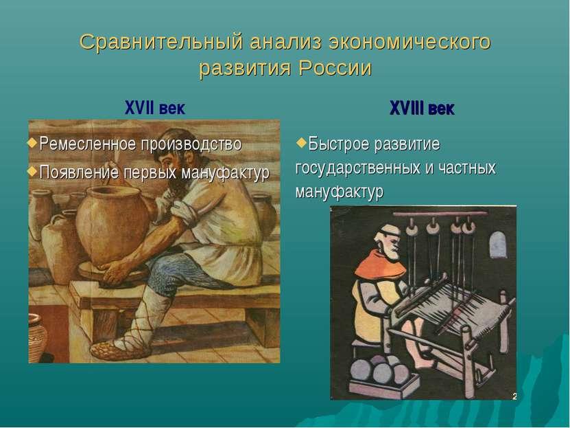 Сравнительный анализ экономического развития России XVII век XVIII век Ремесл...