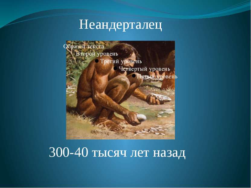 Неандерталец 300-40 тысяч лет назад От находки вблизи города Неандерталя (Зап...