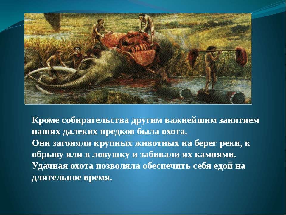 Кроме собирательства другим важнейшим занятием наших далеких предков была охо...