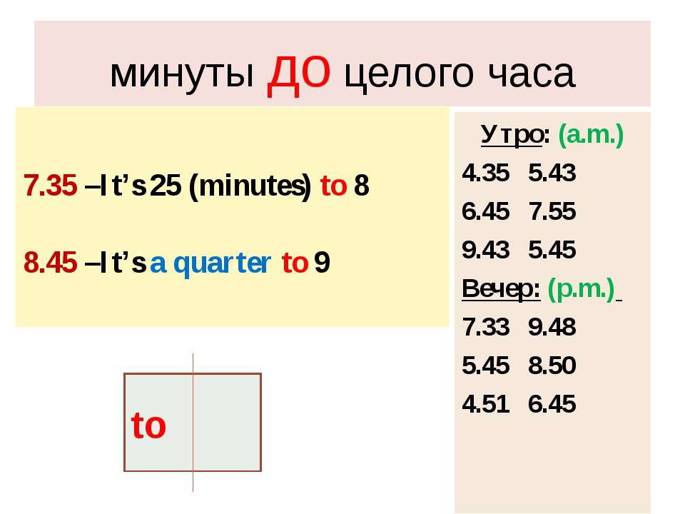 минуты до целого часа 7.35 –It's 25 (minutes) to 8 8.45 –It's a quarter to 9 ...