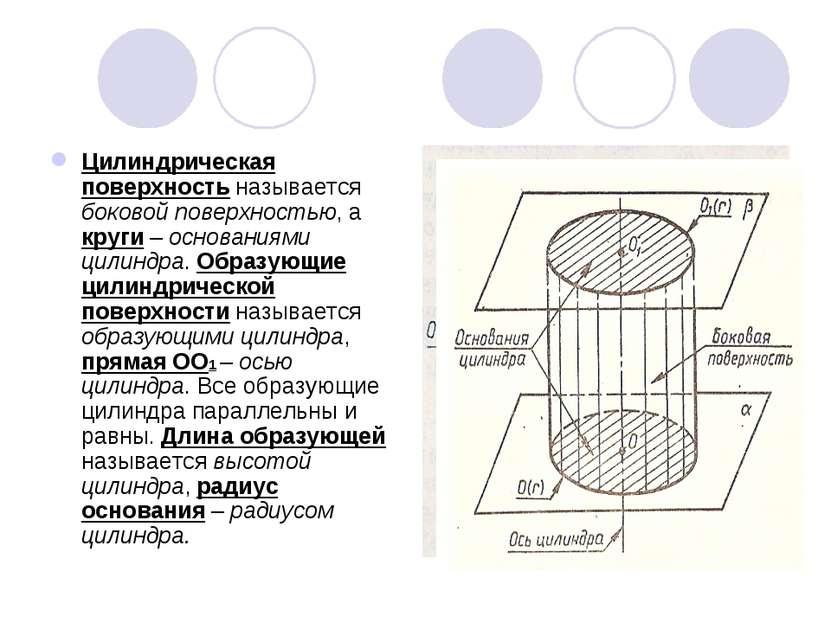 Цилиндрическая поверхность называется боковой поверхностью, а круги – основан...