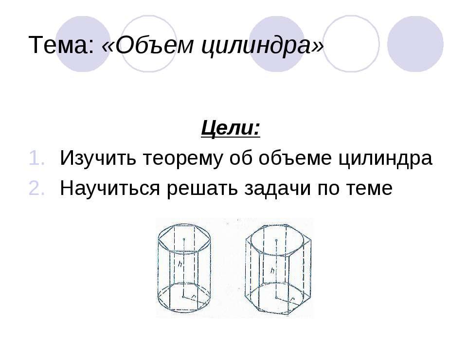 Тема: «Объем цилиндра» Цели: Изучить теорему об объеме цилиндра Научиться реш...