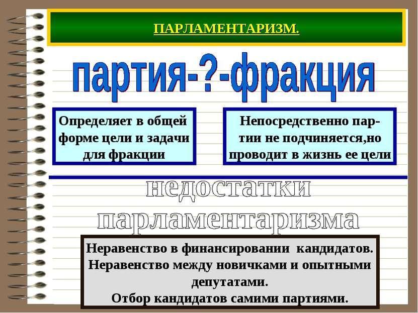 ПАРЛАМЕНТАРИЗМ. Определяет в общей форме цели и задачи для фракции Непосредст...