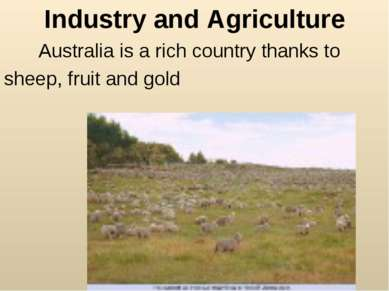 Industry and Agriculture Australia is a rich country thanks to sheep, fruit a...